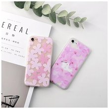 Pink Cat Cute Silicone Matte Case For iPhone 6S 7 Case Soft blossoms Phone Cases Back Cover for iPhone 7 6 Plus phone Cartoon