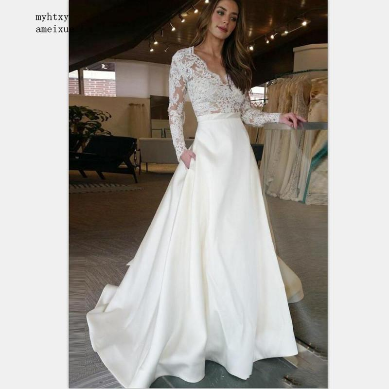 Long Sleeve Wedding Dress 2019 V Neck A Line Appliques Lace Top Satin Skirt Wedding Gown With Pocket Custom Made Bride Dress