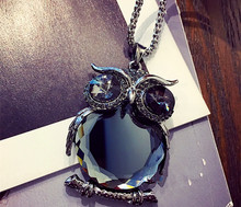 Fashion Elegant Blue Crystal Owl Pendant Necklace Exquisite Long Sweater Chain Item Girl's Gift - Perfect Female Nail Art store
