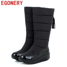 EGONERY shoes 2017 winter warm fur snow boots women knee high boots fashion ladies pu leather mid calf knee high boots shoes