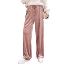 Rose Velours Taille Haute Pantalon 2018 Automne Hiver Femmes De Mode Longue Taille  Élastique Velours Pantalon 485afe8d788