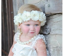 Retail Bady Pearls Chiffon Flower Headbands pearl rhinestone flower  Hair Accessories Elastic  headband