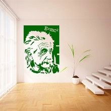 T05061 Celebrity boys bedroom wall sticker Famous Portrait Alber Einstein E=mc2 Vinyl Wall Sticker Art Sticker Home Decor Mural