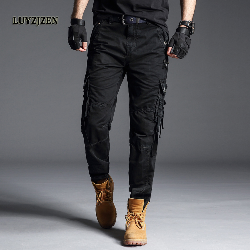 Original LUYZJZEN Mens Workout Pants Loose Style Military Long Trousers Camo Straight Tactical Casual Pants with Multi Pocket 44