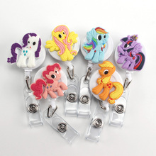 2017 New Arrival Cartoon Animal Colourful Horse Silicone Retractable Reel for Bus Credit Card Holder for Bus Credit Card PY020(China)