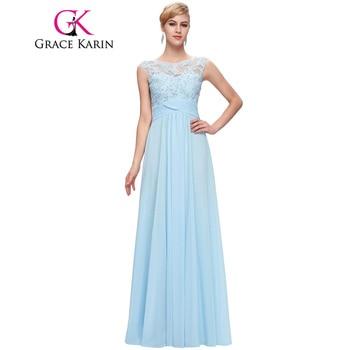 Grace Karin Élégant Longue De Bal Dress Avondjurk Abendkleider 2017 Appliques Robe De Soirée Robe De Soirée Longue Formelle Party Dress