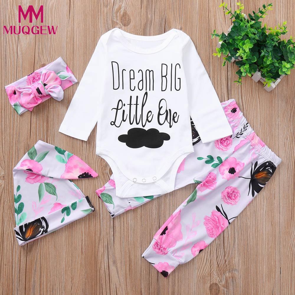 Baby Girls Shirt Tops+Pants+Headband+Hat Kids 4Pcs Floral Clothes Outfits Set