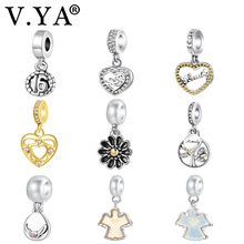 V.YA Fits for Pandora Charm Bracelet Necklace Women Men DIY Heart Shape Bead for Jewelry Making Family Charms Pendant(China)
