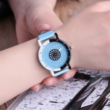 Sky Blue Candy Color Belt Watch Women Clean Fresh Simple Fashion Wristwatches Starry Frosted Dial Girls' Quartz Watch