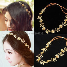 1PC Fashion Metallic Women bridal hair accessories Lady Elastic Flower Leaf Hair Band Headband Head Chain Party Jewelry(China)