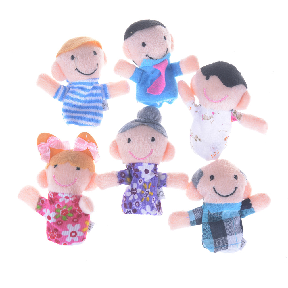 Baby Plush Toy Finger Puppets Tell Story Props Family Doll Kids Toys Children Gift 6pcs