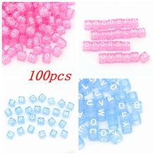 "100pcs 6mm Pink/Blue MIxed Acrylic Alphabet ""A-Z"" Square Letter Beads DIY Loom Refills Cube Pendants Accessories Charm Bracelets"
