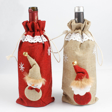 1PC Wine Bottle Cover Set Christmas Gifts Bag Table Decor Linen Champagne Bottle Covers Dinner Party Supplies(China)