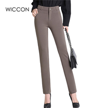 Spring Autumn pants women office work High stretch cotton ladies pants Thicken female High Waist trousers WICCON(China)