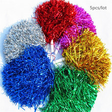 5pcs/lot Cheerleading Pom Cheerleaders Hand Flowers with Plastic hand stick Party Festival Performance Supplies 50g/pcs(China)