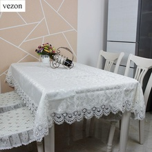 "vezon Hot Sale 180*270cm Elegant Polyester Fabric Lace Tablecloths 72*108"" European Luxury Wedding Table Linen Cloth Covers"