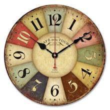 Good  Quality New Vintage France Paris Colourful French Round Country Tuscan Style Paris Wood Wall Clock 1pc 1.8