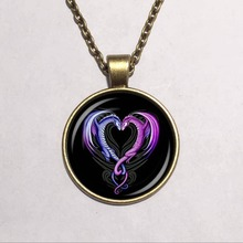 purple dragon pendant necklace,fashion necklace,Heart shape necklace for men and women(China)