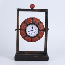 Classical basketball resin clock Pastoral Retro styling Football clock  Personalized home decoration