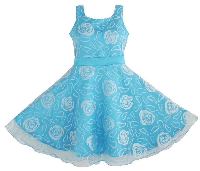 Flower Girl Dress Blue Rose Wedding Pageant Kids Boutique 2017 Summer Princess Party Dresses Children Clothes Size 4-12 Sundress<br><br>Aliexpress