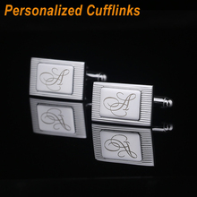 Personalized Cufflinks Engraved Name Design Silver Shirt Customized Cuff Link Wedding Clips Groom Best Man Usher Gitfs CL-022(China)