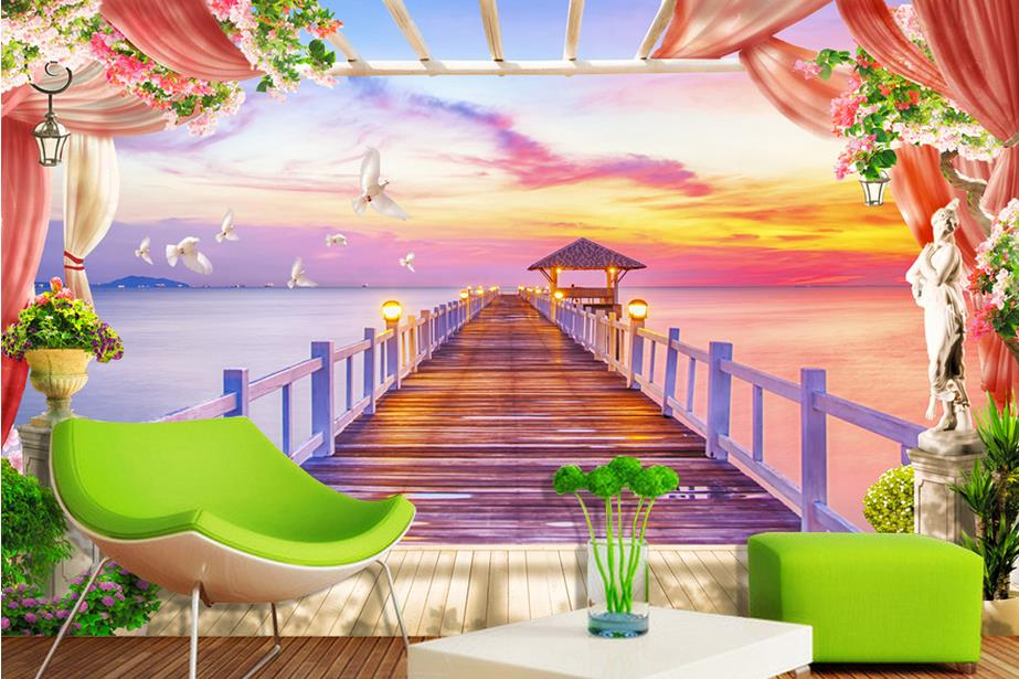 customize wallpaper for walls 3 d wallpaper Maldives Chalet bridge 3d wall murals wallpaper home decor living room<br>