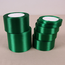 25 Yards Silk Satin Ribbon in Green Wedding Party Home Decoration Gift Apparel Sewing Fabric Bow Material DIY Hair Accessories(China)