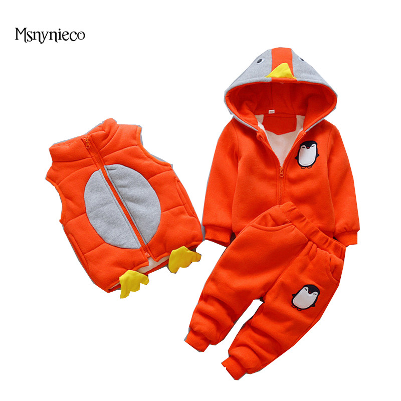 Winter Boys Girls Baby Clothing Sets Warm Coat 2017 Casual Toddler Girl Thicken Infant Cartoon Jacket+Vest+Trousers 3pcs Sets<br>