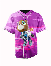 Real American Size   kayne west purple bear og 3D Sublimation Print Custom made Button up baseball jersey plus size