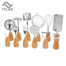 TTLIFE 12PCS/Set Smile Face Wood+Stainless Steel Dinner Kitchen Dining Bar Cooking Tool Fruits Vegetables Tableware Kitchenware(China)