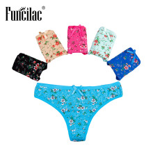 Buy FUNCILAC Underwear Women Sexy Thong Print G String Girls Panties Floral Briefs Fashion Cotton Underpants Lingerie 5Pcs/Lot