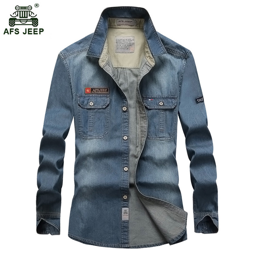 2018 New Multi-pocket Men's Shirts Cotton High Quality Denim Shirt Men Long-sleeved Camisa Social  M-4XL Casual Shirt Men 72wy
