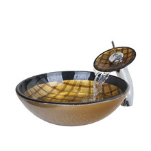 Tempered Glass Round Yellow And Black Bowl Sinks / Vessel Basins With Bathroom Waterfall Faucet Bathroom Sink Set VDHS6328-1