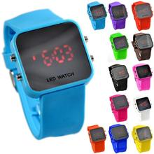 Relogio Relojes Quartz Wrist Watch Sport Clock Hours High Quality Square Mirror Face Silicone Band Digital Watch Red LED Watches