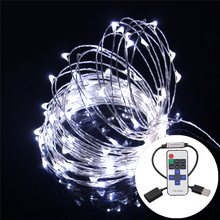 5V 10M 33FT USB Christmas Lights Copper Wire Fairy String Light Christmas Wedding Decoration + RF Remote Controller + Reciever(China)