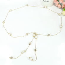 Ladies Women Pearl Belt Causal Bead Sweet Thin Metal Waist Chain Dress Belt Fashion Luxury 200-329