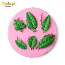 Delidge 1Pc 3D Leaf Shape Silicone Fondant Mold Silicone Baking Forms Soap Mold Sugarcraft Cake Decoration Tools(China)
