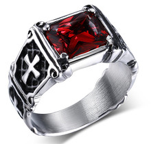 Hot sale Punk Real stainless steel Red Stone Men's 13KT red stones Finger Rings for man High Quality Cross Ring accessary
