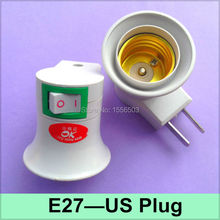 1X E27 US Plug With Switch Lamp Converter Buld Light Wall Adapter E27 Lamp Base Bracket Holder OnOff Plug Fitting Socket(China)