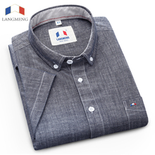 Langmeng Brand 100% Cotton 2017 New Stylish Pattern Short Sleeved Casual Shirt Men Mens Slim Fit Dress Shirt Camisa Masculina(China)