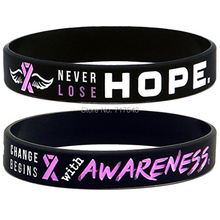 200PCS Awareness Pink Ribbon Breast Cancer wristband silicone bracelets free shipping by FEDEX(China)
