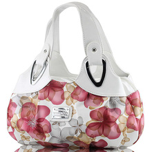 Fashion Korean handbag beautiful Women PU leather Bag Tote Bag Printing Flower Handbags six style Satchel drop D30