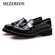 MEZEREON Shoes Woman Fashion Loafers Genuine Patent Leather Women Flats Wine Red Flat Tassel Shoes for Women Casual Flats