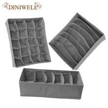 DINIWELL Home Storage supply Foldable  Bamboo Drawer Underwear Bra Socks Ties Divider Closet Organizer Storage Box Set Container