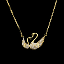 GORGEOUS TALE Delicate Everyday Jewelry Chokers Double Swan Necklace Gold Cute Animal Pendant Bijoux Femm For Valentines Gift
