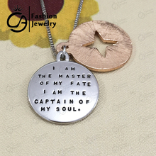 Wholesale Jewelry I AM THE MASTER OF MY FATE,I AM THE CAPTAIN OF MY SOUL Compass Necklace Graduate Gift 20Set/Lot #LN1087(China)