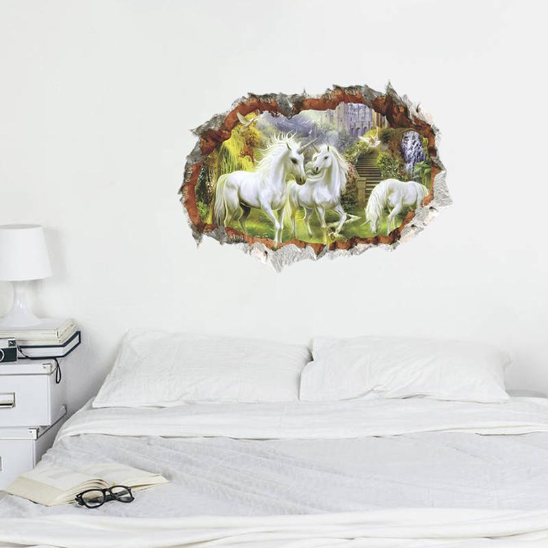 HTB1EXZIgDmWBKNjSZFBq6xxUFXap - unicorn horse forset wall stickers creative 3d break the wall effect picture For Kids Rooms