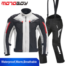 MOTOBOY Waterproof Motorcycle Jacket Motocross Cold-proof Clothing Pants 600D Oxford Breathable Warm Suits Motorcycle Jacket(China)