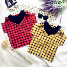 Fashion Personality Fake Two Pieces Children's Blouse Plaid Strapless All-Match Summer Girls Blouses Kids Shirts Tops 2-7 Years