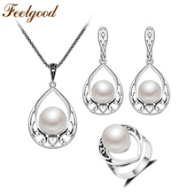 Feelgood Jewellery Vintage Silver Color Pendant Necklace Set Hollow Out Water Drop And Imitation Pearl Jewelry Sets For Women(China)